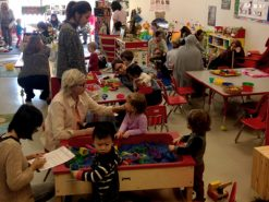 Families play and socialize in a family support program