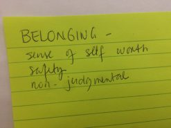 Belonging: sense of self-worth, safety, non-judgmental